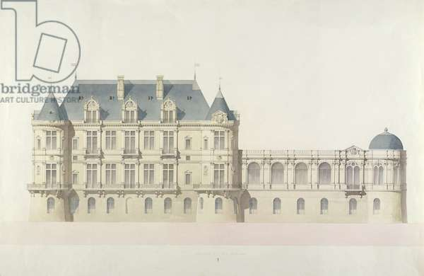 Design for the north facade of the Chateau de Chantilly, 1846-48 (pen & ink and w/c on paper)