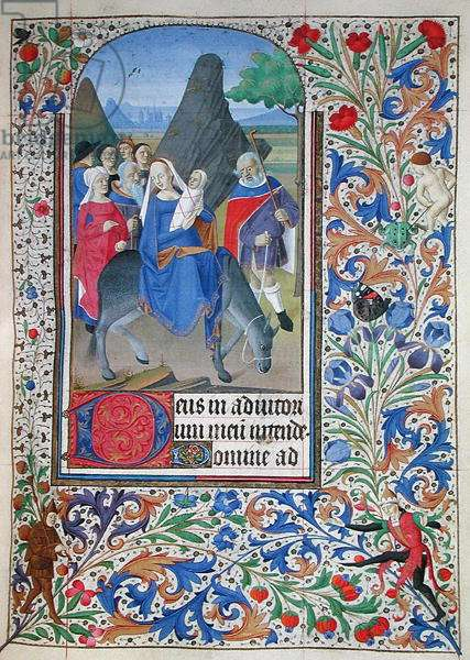 Ms 76/1362 The Flight into Egypt, from the Hours of the Duchess of Burgundy, c.1450 (vellum)
