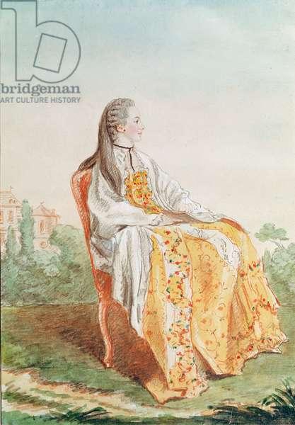 Marie-Marguerite-Adelaide de Bullioud, Comtesse de Seran de La Tour (pencil, w/c, gouache  & red chalk on paper)