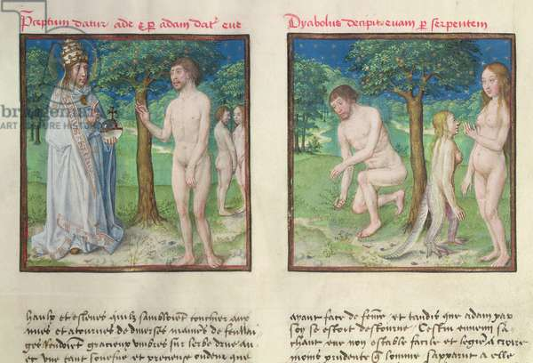 Ms 139/1363 fol.3r God uniting Adam and Eve. Eve and the serpent, from 'Le Miroir de l'Humaine Salvation' (vellum)