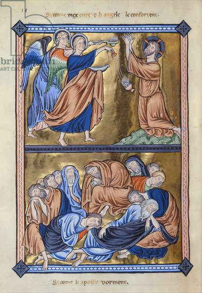 MS 9/1695 fol.24v Christ on the Mount of Olives, Ingeborg Psalter of Denmark, c.1210 (vellum)