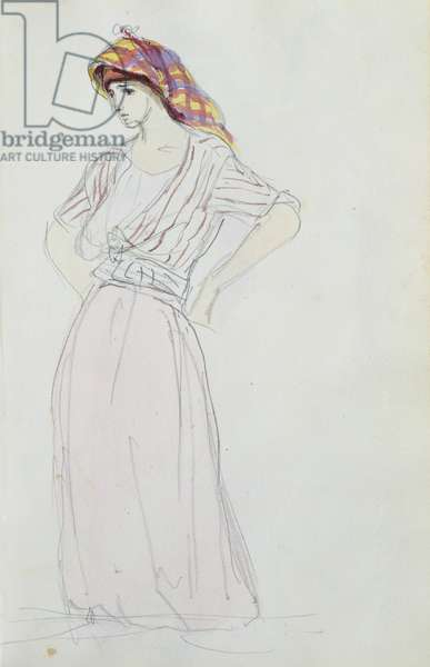 Young woman standing, hands on hips, 1832 (w/c on paper)