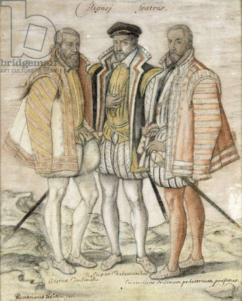 The Three Coligny Brothers: Odet (1517-71) Cardinal of Chatillon, Gaspard II (1519-72) Leader of French Protestants and Admiral of France, and Francois, Lord of Andelot, who won fame at the Battles of Dreux and Jarnac, after a painting by Marc Duval (c.1530-81) c.1580 (pencil on paper)