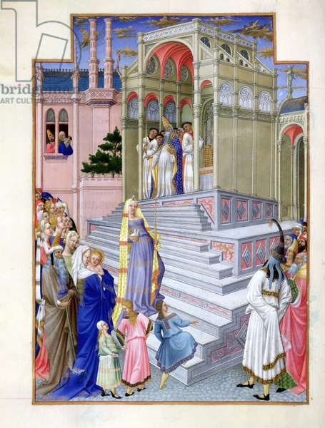 Ms 65/1284 fol.54v The Presentation of the Virgin in the Temple, from the 'Tres Riches Heures du Duc de Berry' (vellum)