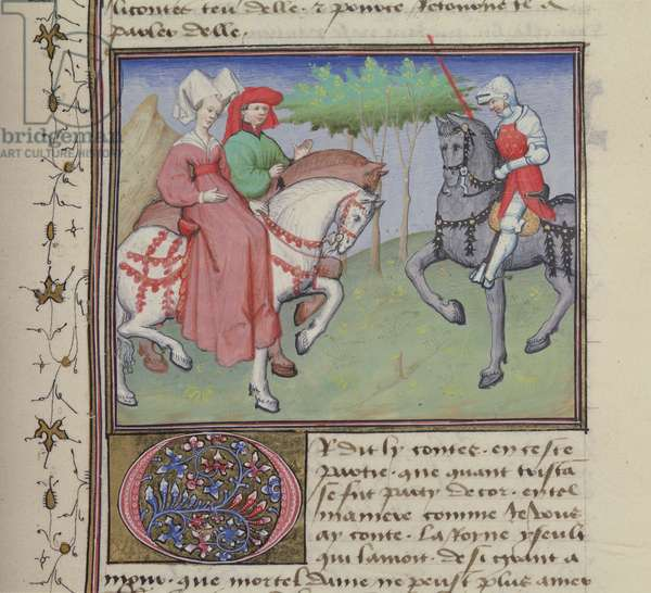 Ms 648/404 f.79r Tristan and Iseult meet on a road, from Roman des Chevaliers Galaad, Tristan et Lancelot (vellum)