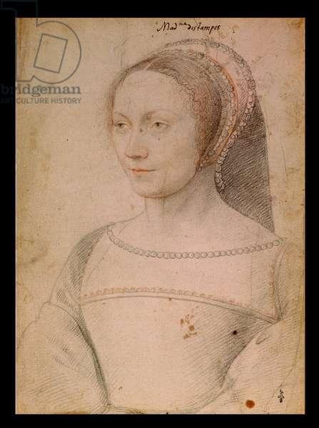 Anne de Pisseleu (1508-80) c.1540 (pencil on paper)