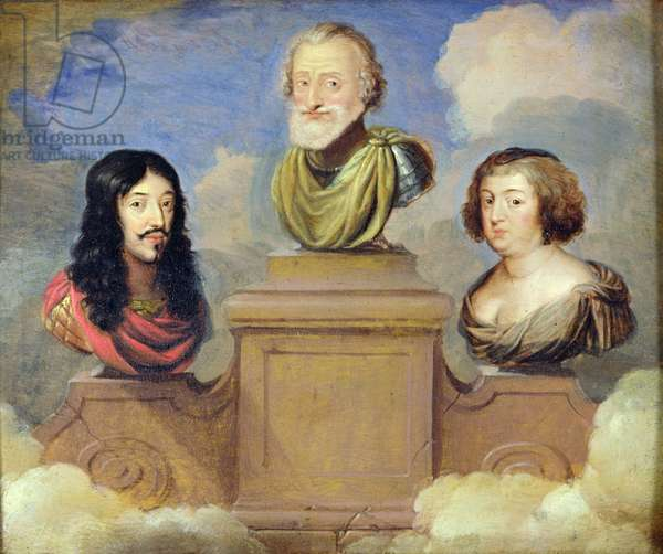 Bust of King Henri IV (1553-1610), between Louis XIII (1601-43) and the Queen Marie de Medici (1573-1642) 1st half ofd17th century (oil on panel)