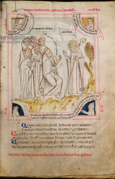 Ms 738/1401 fol.124r The Monks of Vicovaro choosing St. Benedict (c.480-c.550) as their Abbot, illuminated by Jean de Stavelot, from the 'Collection of Writings on St. Benedict, (1432-37)' (vellum)
