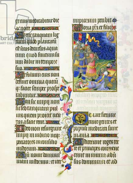Ms 65/1284 fol. 45v Psalm 1, Praying after the victory, Très Riches Heures du Duc de Berry (vellum)