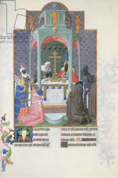 Ms 65/1284 fol.193v The Adoration of the Cross, from the Tres Riches Heures du Duc de Berry, early 15th century (vellum)