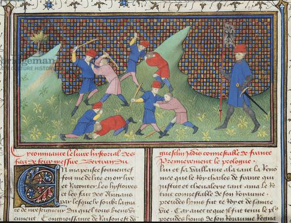 Ms 490/465 fol.1r The Turbulant Youth of De Guesclin (1320-80) from the Story of Ogier the Dane (vellum)
