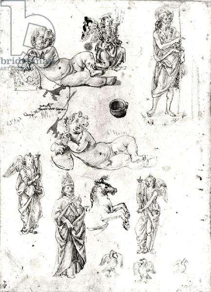 Various studies (pen & ink on paper) (b/w photo)