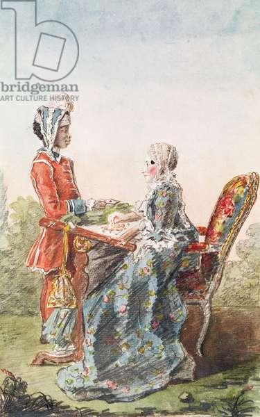 Madame de Lismore and her Servant, Aza, c.1760 (pencil, w/c & gouache on paper)