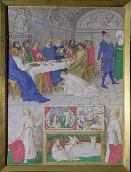 Ms Fr 71 Fol.37 The Suffering of the Saints: Christ in the House of Simon the Pharisee, from the Hours of Etienne Chevalier, c.1445 (vellum)