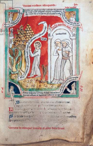 MS 738/1401 fol.118v St. Benedict Leaving his Parents, from the manuscript by Jean de Stavelot`, from the 'Collection of Writings on St. Benedict, (1432-37)' (vellum)