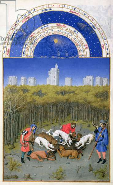 Ms 65/1284 f.12v December: Hunting Wild Boar, from the 'Tres Riches Heures du Duc de Berry' (vellum) (for facsimile copy see 65825)