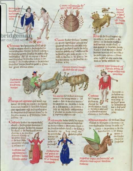 Ms 724/1596 fol.63v The Constellations: Gemini, Cancer, Leo, Taurus, Cepheus, Cassiopeia, Andromeda, Pegasus, from 'Liber Floridus' by Lambert de Saint-Omer, c.1448 (vellum)