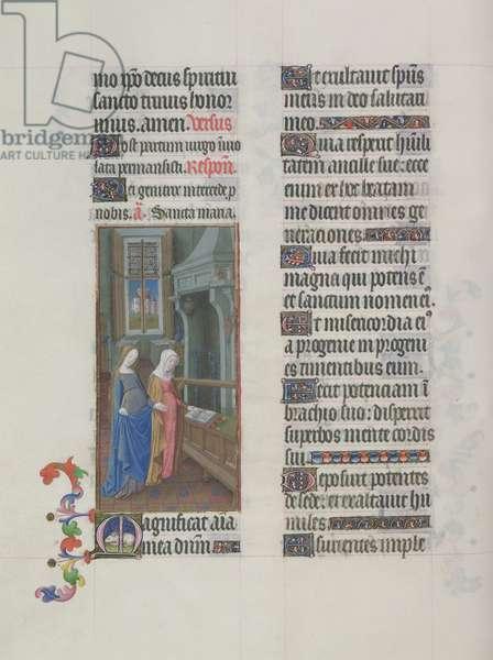 Ms. 65/1284 fol. 59v The Visitation, from 'Très Riches Heures du Duc de Berry' (vellum)
