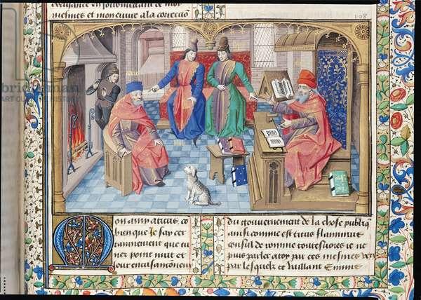 Ms 282/491 fol.214  Dialogue between Cato, Atticus, Lelius and Scipio (vellum)