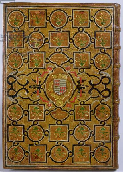 Guillaume Du Choul: 'Discourse on castrametation and military discipline of the Romans...', binding with the coat of arms of Pierre Ernest de Mansfelt and interlace decoration and flowers on golden dotted background, 1556 (Levant leather)