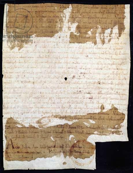 Charter regarding the Return of Stenay Priory to Gorze Abbey, 1093 (vellum)