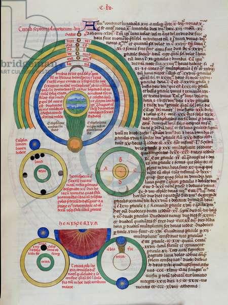 Ms 724/1596 Fol.155r The Movements of the Seven Planets, from 'Liber Floridus' by Lambert de Saint-Omer, c.1448 (vellum)