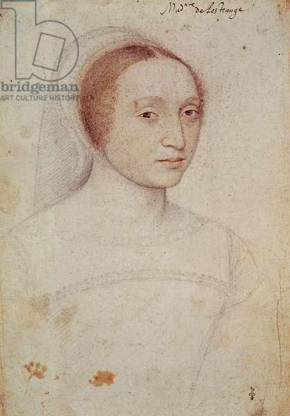 Marie de Langeac (1508-1588), femme de Jean, seigneur de Lestrange, c.1533 (pencil on paper)