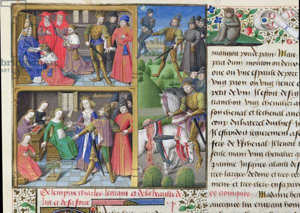 Ms 722/1196 fol.105r Scenes from the Life of Charlemagne (742-814) from Le Miroir Historial, by Vincent de Beauvais (vellum)