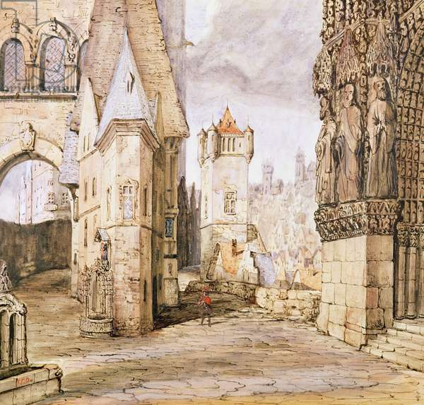 A street in the 16th century, a stage set design for the 1st Act of the opera 'La Juive', after 1835 (w/c on paper)