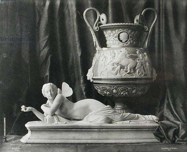 Sevres Vase and Statuette, from an exhibition, 1855 (b/w photo)