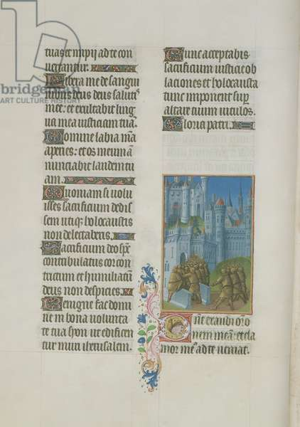 Ms. 65/1284 fol. 68v An army entering a city, from 'Très Riches Heures du Duc de Berry' (vellum)