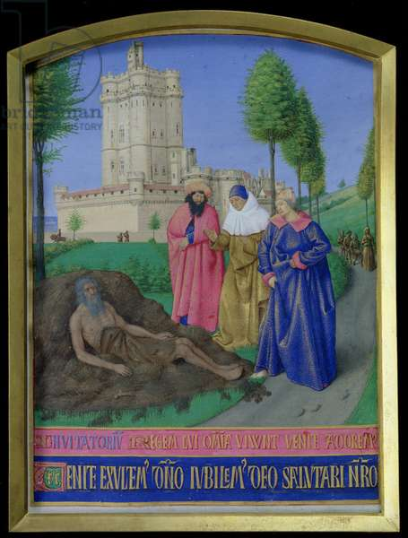 Ms 71 f.26 Job on the dung heap, from the 'Heures d'Etienne Chevalier', c.1445 (vellum)