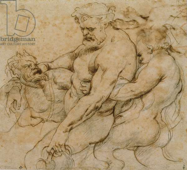 The Drunkenness of Hercules, previously thought to be Drunk Silenus with Two Satyrs (pen & ink and black chalk on paper)