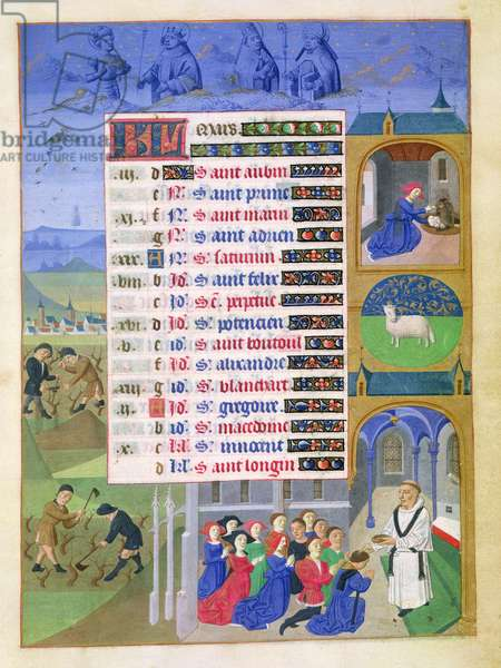 Ms 76/1362 fol/3r March: Blessing in church and peasants pruning, from the 'Hours of the Duchess of Burgundy', c.1450 (vellum)