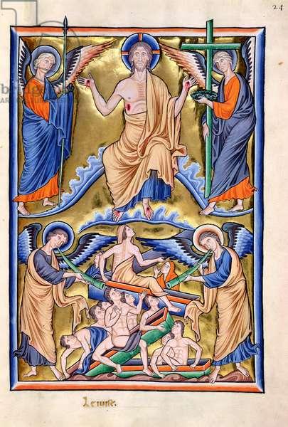 Ms 9/1695 f.33 Last Judgement and the Resurrection of the Dead, from the 'Psautier d'Ingeburg de Danemark', c.1210 (vellum)