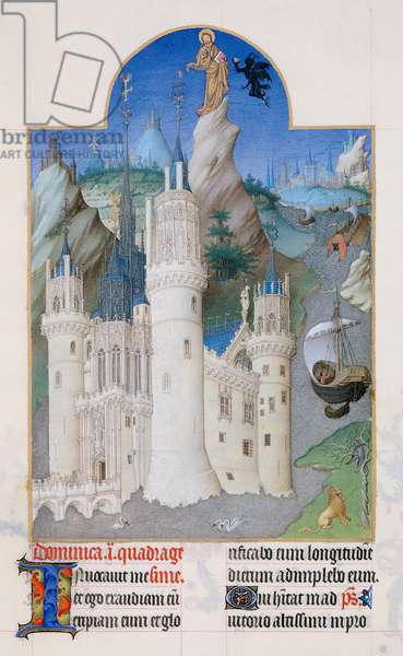 Ms 65/1284 f.161v Temptation of Christ, from the 'Tres Riches Heures du Duc de Berry' (vellum)