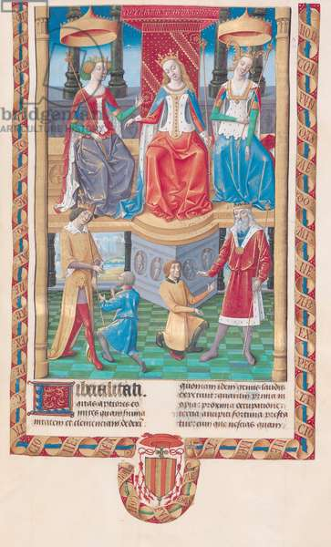 Ms 834/314 fol.15 Three queens and two kings pardonning their subjects, written by Valerius Maximus, from 'Dicta et Facta Memorabilia,' c.1475 (vellum)