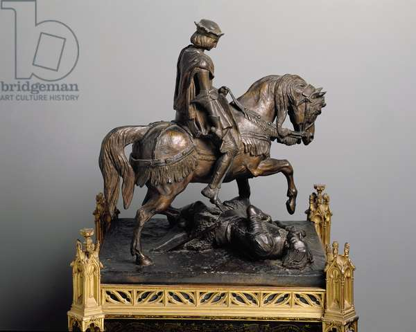 Joan of Arc on horseback crying at the sight of someone injured, 1834 (bronze)