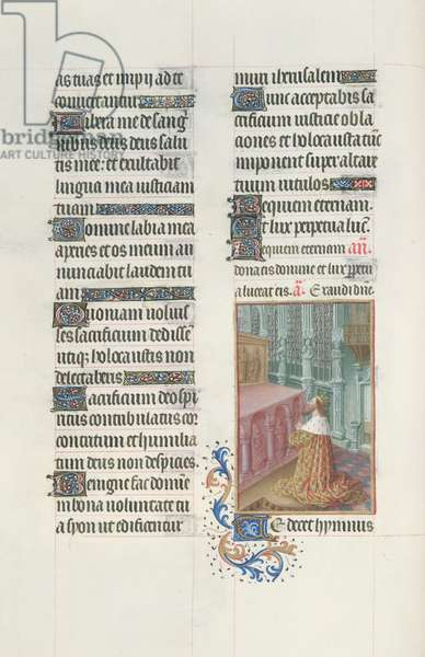 Ms. 65/1284 fol. 101v Psalm 64, David in Prayer, from 'Très Riches Heures du Duc de Berry' (vellum)