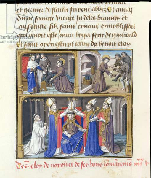 Ms 722/1196 fol.71v Scenes from the life of St. Eloi (c.588-660) Bishop of Noyon, from Le Miroir Historial, by Vincent de Beauvais (vellum)