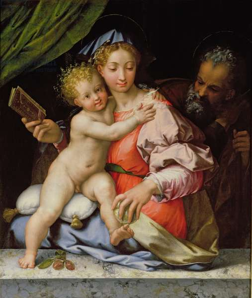 The Holy Family (oil on panel)