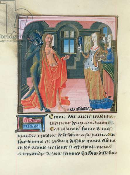 Ms 297/1338 fol.109v The Two Conditions of the World, from the Book of Good Morals, by Jacques le Grant (1360-1415) (vellum)