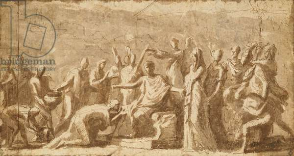 The Continence of Scipio (237-183 BC) (pen & ink wash on paper)
