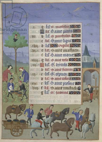 Ms 76/1362 fol.9v September: Beating Walnuts and the Grape Harvest, from the 'Hours of the Duchess of Burgundy', c.1450 (vellum)