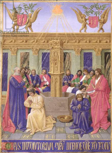 Ms Fr 71 fol.25 The Fountain of the Apostles, from the Hours of the Cross and the Holy Spirit, from the Hours of Etienne Chevalier, c.1445 (vellum)