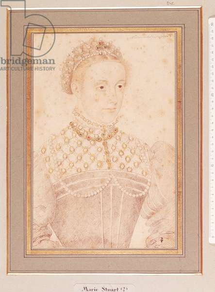 Portrait presumed to be Mary Queen of Scots (1542-87) c.1560 (pencil & w/c on paper)
