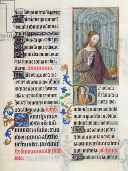 ms.65/1284 fol. 186v, Christ Blessing the World, from the 'Très Riches Heures du duc de Berry' (vellum)