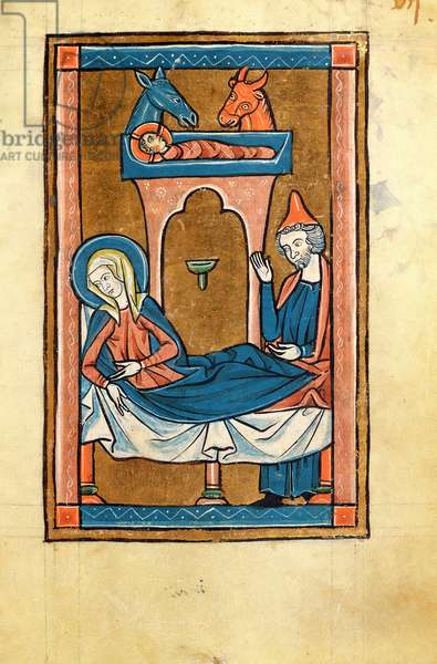 Ms 10/1453 fol.7 The Nativity, from the 'Psalterium Liturgicum' (vellum)