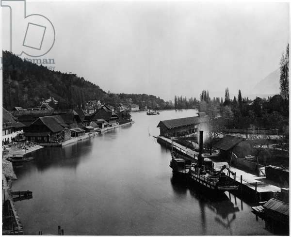 View of Hofstetten near Thun, c.1863-65 (albumen print from a glass negative) (b/w photo)
