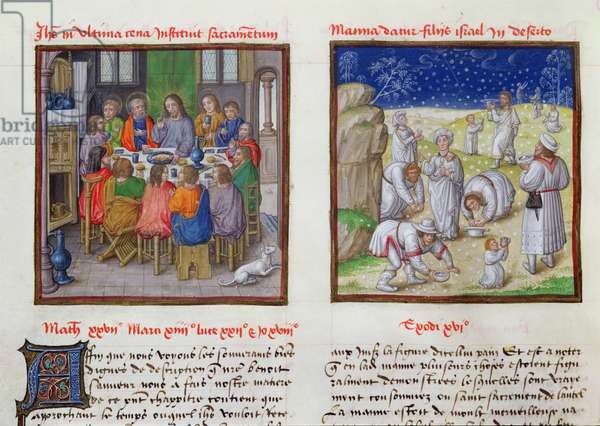 Ms 139/1363 fol.17v The Last Supper and the Gathering of the Manna, from 'Le Miroir de l'Humaine Salvation' (vellum)